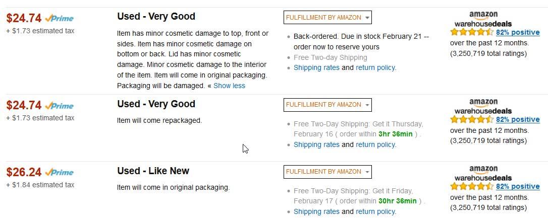 buying used items on amazon